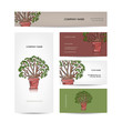 Business cards design, green tree in pot
