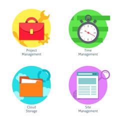 Office management icons set
