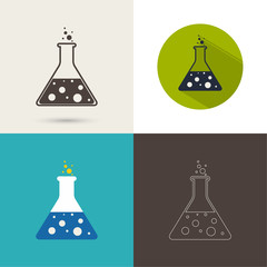 Set of vector icons with chemical flask