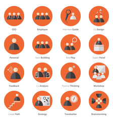 Icon Set of Business Career , Marketing in Flat Design, Vector