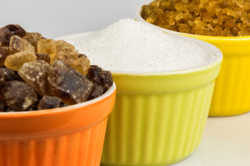 three kinds of sugar cups