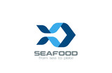Origami Fish Logo design vector. Ribbon Silhouette seafood - 70796393