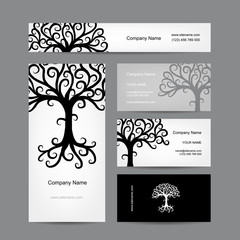 Business cards design with abstract tree silhouette