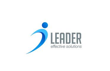 Business Leader man abstract logo design vector. Winner