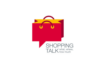 Online Shopping Bag Logo Chat design vector. Web Shop