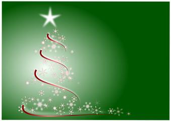 Weihnachtsbaum auf grünem Hintergrund