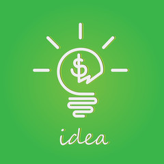 Light bulb vector icon. Money making idea