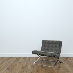 Black Leather Armchair In Empty Interior Room  Stock Photo: