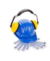 Hard hat and ear muffs with gloves.