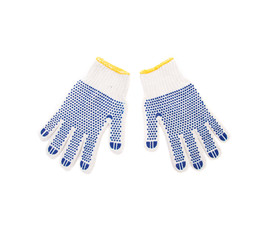 Protective gloves with blue circles.