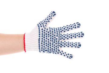 Protective glove with blue circles.