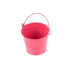 Pink metal bucket.