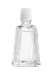Glass bottle with clear liquid (with clipping path) isolated