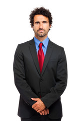 Male manager on white background
