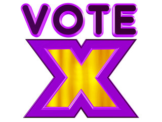 Vote sign in purple and yellow