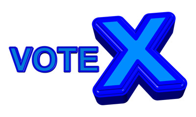 Vote X sign in blue