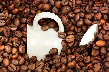 Tazza immersa tra i chicchi di caffè