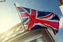 "Постер, картина, фотообои ""flag of UK on government building"""