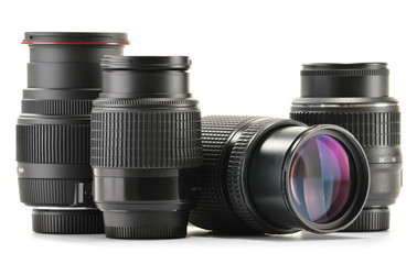 Photo zoom lenses isolated on white background