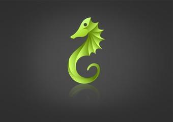 green seahorse logo Vector