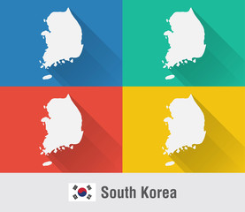 South Korea world map in flat style with 4 colors.