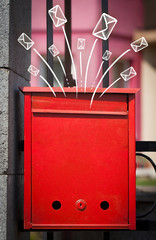 Hand drawn envelopes comming out of a mailbox