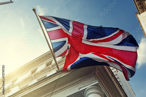 Leinwanddruck Bild flag of UK on government building