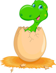 Cute dinosaur cartoon hatching