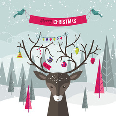 Christmas holiday modern flat design with deer