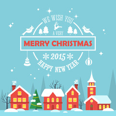 Christmas holiday modern flat design with text typography.