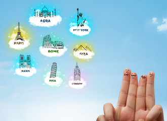 Cheerful finger smileys with sightseeing landmarks icons