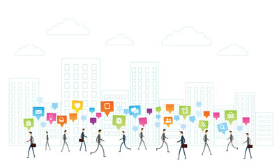 Vector business People communication on white city background