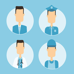 flat vector people career icon