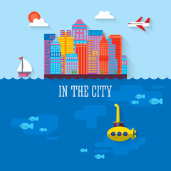 Flat design modern vector illustration of city over sea