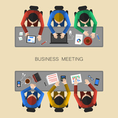 Flat design concept of teamwork on business meeting
