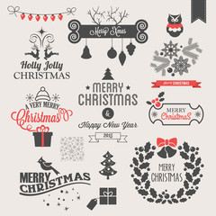 Christmas icons, logo design and elements set