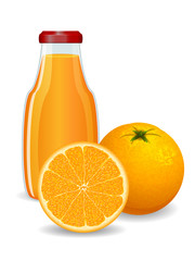 Bright orange with juice on white background