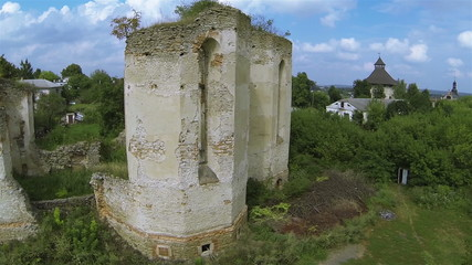 old destroyed church. Aerial  fly panorama