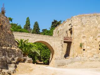 Rhodes old town entrance bridge, Greece.