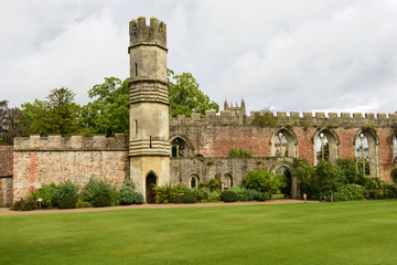 tower and ruins of the great Hall at  Bishop Palace,Wells