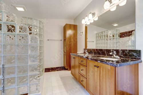 canvas print picture Bathroom with glass block screened shower