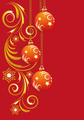 Red Winter background with Christmas tree balls