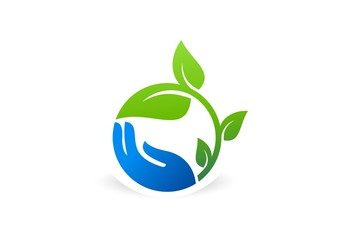 hand,plant,logo,tree,nature,leaf,circle,ecology,agriculture