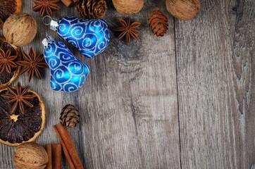 Christnas wooden frame with citrus