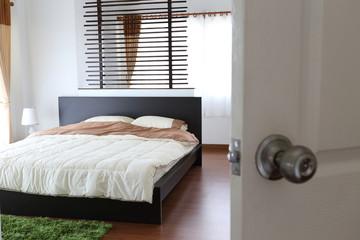 design of interior white bedroom in modern house