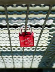 Red love lock on a bridge in Herdecke, Nordrheine-Westfalen