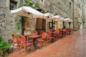 Alley in Italian old town San Gimignano Tuscany Italy