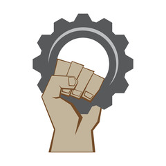 Fist with gear, vector format
