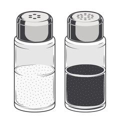 Glass salt and pepper shakers isolated on a white background