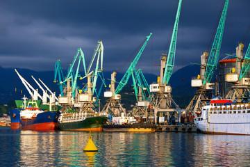 Ships in seaport